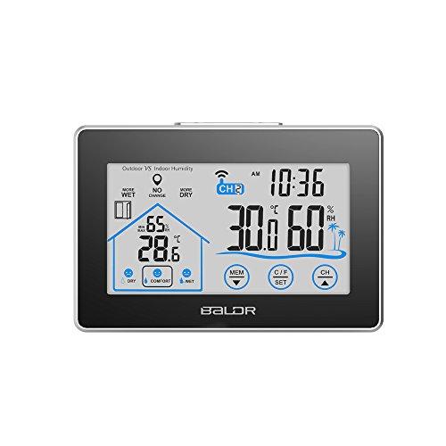 Anself LCD–WIFI Uhr Thermometer Hygrometer Innen-/Aussenbereich, mit Wasserstandsanzeige, Knopf Touchscreen