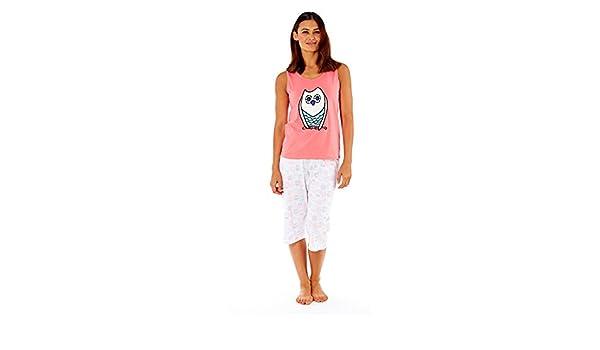 Ladies Coral Vest Navy /& White Paisley Cotton Shortie Pyjama Set In Sizes 8-18