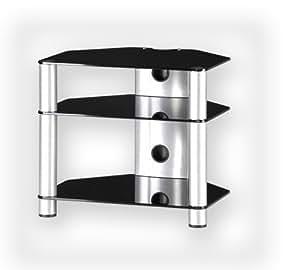 Sonorous RX2130 Rack séparé pour Hi-fi en aluminium argenté et verre noir (Import Royaume Uni)