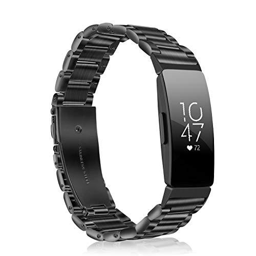 Fintie Armband kompatibel mit Fitbit Inspire/Fitbit Inspire HR Gesundheits- & Fitness Tracker - Edelstahl Metall Uhrenarmband Ersatzband mit Doppelt Faltschließe, (*Schwarz) - Faltschließe Fitbit-armband