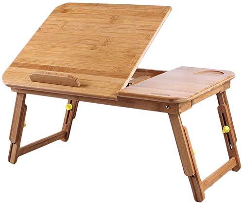 Hom Desk Tavolo Pieghevole Regolabile in Altezza Tavolo per Laptop con cassetto Comodino Tavolo da Lettura Tavolo da Colazione Tavolo Regolabile per Libri File, Dimensioni: 54x34cm