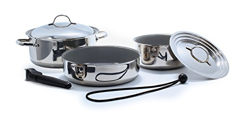 Camco 43925 Ceramic 7 Piece Nesting Cookware Set