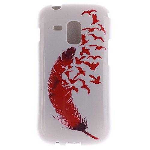 Samsung Galaxy S Duos S7562 S7560 S7560M hülle MCHSHOP Ultra Slim Skin Gel TPU hülle weiche Silicone Silikon Schutzhülle Case für Samsung Galaxy S Duos S7562 S7560 S7560M - 1 Kostenlose Stylus (Löwenz Feder und Flying Birds (Feather and Flying Birds)