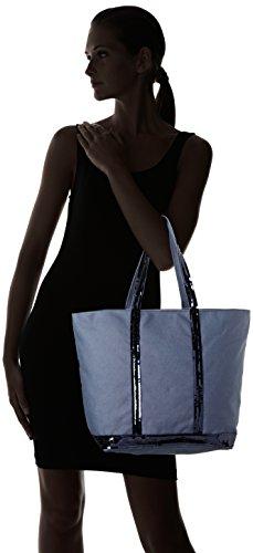 Vanessa Bruno Cabas Medium + Zippé-coton et Paillettes, Cabas bleu(azur)