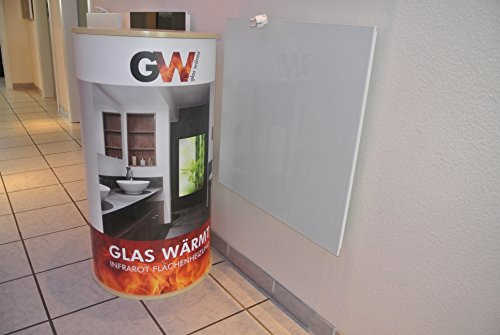 Glaswärmt Infrarotheizung Infarot 450 Watt ESG Glas Weiss Glasheizung