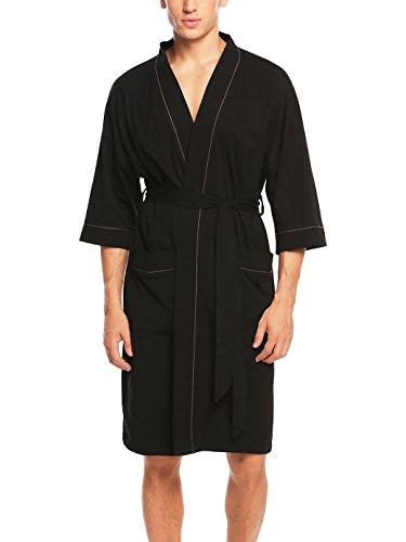 Morgenmantel Herren, SummerRio Bademantel Saunamantel Kimono Baumwolle Schalkragen 3/4 Ärmel mit Gürtel und Tasche, Schwarz, Gr. M