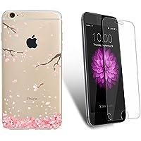 iPhone 6 Plus / 6S Plus Custodia con Pellicola Protettiva Vetro Temperato e Stilo Penna, Yoowei Rosa Ciliegia Disegni Cristallo Trasparente Ultra Sottile Morbido TPU Case Cover (Bella