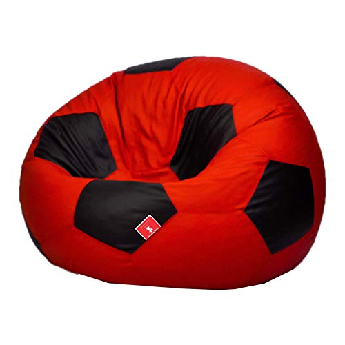 ComfyBean Football/Soccer Bean Bag Filled with Bean Filler (Red and Black, 3XL)