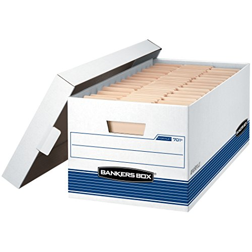 Bankers Box Datei mittelschweren Aufbewahrungsboxen mit Lift-off Deckel, Buchstabe 12-Pack weiß / blau (Datei-boxen Mit Deckel)
