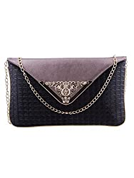 ESBEDA Black-Gunmetal Color Checkered Pu Synthetic Material Clutch For Womens