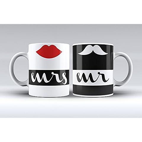 Pack 2 tazas ilustración mrs & mr labio rojo y bigote decorada desayuno regalo original pareja
