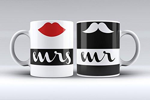 Pack 2 tazas ilustración mrs & mr labio rojo y bigote decorada desayu