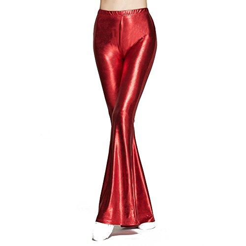 Femmes Éclater Pantalon Haute Taille Brillant leggings Longue Décontractée Treggins leggings Humide Regardez Pantalon S - 2XL Juleya Rouge