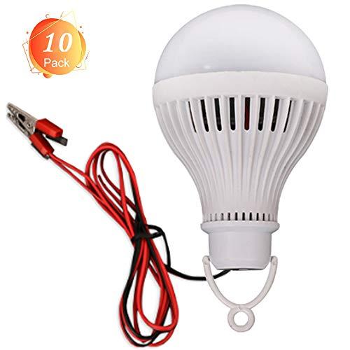 Birne Led Outdoor Laterne (10er Pack Camping Laterne 12v tragbare LED Birne 7W weißes Licht, 400 Lumen für Angeln, Camping, Zelt, Party, Outdoor oder Indoor, Batterieclip)