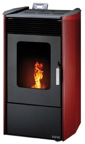 ROWI Pelletofen HPO 9,0 Easy Premium, Stahl rot, 8,14 kWext. Luftzufuhr, 17kg Pellettank