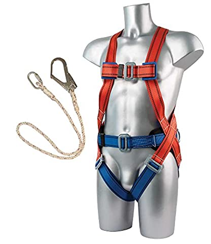 3 Point Full Body Harness & Single Ended Connector Lanyard Fall Prevention Kit