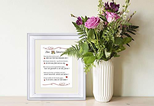"""""""Herzlichen Glückwunsch zum 90. Geburtstag"""" - personalisierbarer Kunstdruck als Geschenk zum 90. Geburtstag - 24 x 30 cm mit Passepartout - ohne Rahmen"""
