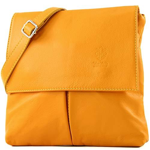 Bolso piel amarillo cruzado para mujer