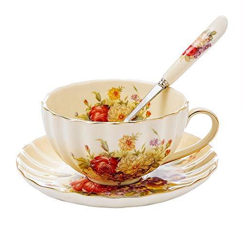 Panbado Elfenbein Porzellan Kaffee Tee Set, Beinhaltet 300 ml Kaffeetasse, Untertasse und Löffel