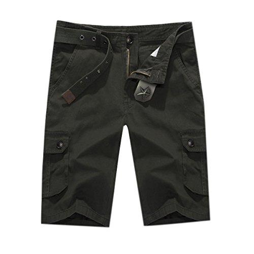 Maschio D'estate Casuale Di Cotone Vestibilità Confortevoli Sciolto 5 Indica I Pantaloni I Pantaloni Della Spiaggia Green