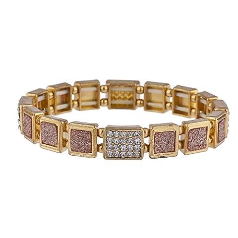 Lux Accessoires Doré et or rose Autocollant Paillettes carré Bracelet extensible