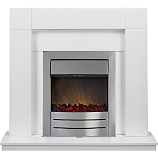 Adam Malmo Fireplace Suite in Pure White with Colorado Electric Fire in Brushed Steel, 39 Inch