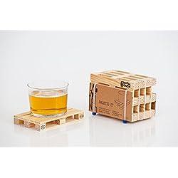 Design Studio Labyrinth Barcelona - Pallet-It Palette-It 8 Posavasos Europallet - Juego de 8 miniaturas de madera . Apto para bares, hogar y oficina.