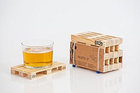 Design Studio Labyrinth Barcelone Mini Euro Palette?8miniature Palette Bois Dessous de Verre de boisson. Convient pour barre, maison et le bureau.