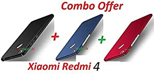 "RidivishN All Sides Protection ""360 Degree"" Sleek Rubberised Matte Hard Case Back Cover for Xiaomi Redmi 4/Mi 4 (Black + Blue + Red)"