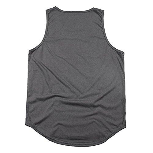 cotone da uomo con canotta Hip shirt da uomo di Yying Camicia senza maniche in jersey di Grigio