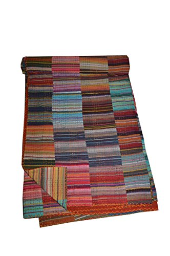 Tribal Asian Textiles Kantha Quilt Queen Throw Ikat Blanket Quilt Bedding Bed Cover 03