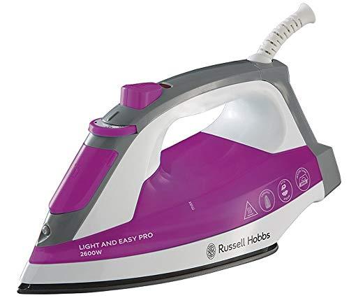 Russell Hobbs Light & Easy Pro - Plancha de Ropa de Vapor (2600W, Suela de Cerámica, Rosa y Blanco) -ref. 23591-56