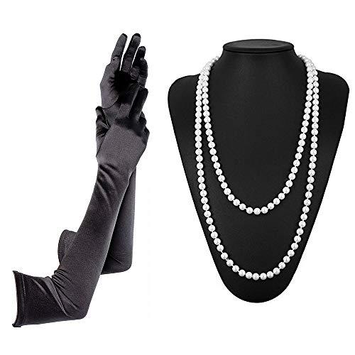tsby Kostüm Accessoires 20er Jahre Flapper Kostüm 2 Stck Perlenkette Satin Handschuhe - Schwarz ()