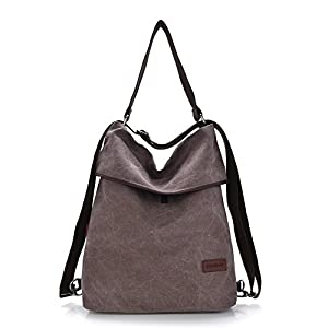 Gindoly Damen Handtasche Schultertasche Bohnenpaste Vintage Canvas Damen Schultertasche Retro Rucksack Multifunktionale Tasche für Arbeit, Schule und Lässige EINWEG