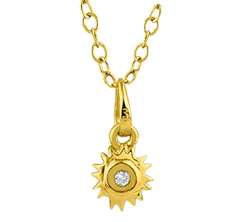 Or Jaune 9 ct Pendentifs Diamant , 0.02 Ct Diamant, GH-SI, 0.5 grammes.