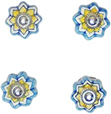 (SET OF 4)SMALL SIZE HANDPAINTED CERAMIC DOOR KNOBS DRAWER PULLS BLUE POTTERY