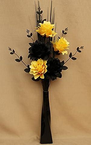 ARTIFICIAL SILK BLACK & YELLOW DRAGON FLOWERS, LEAF SPRAY & GRASSES IN A BLACK TWIST CERAMIC VASE