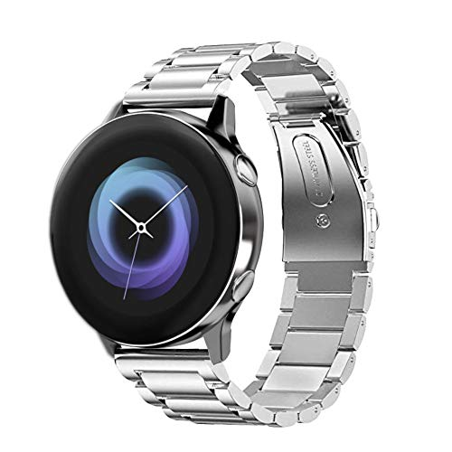 VANCHAN kompatible Samsung Galaxy Watch Active Armband, Solid Edelstahl Metall Ersatzarmband Uhrenarmbänder kompatibel mit Samsung Galaxy Watch Active(Silber)
