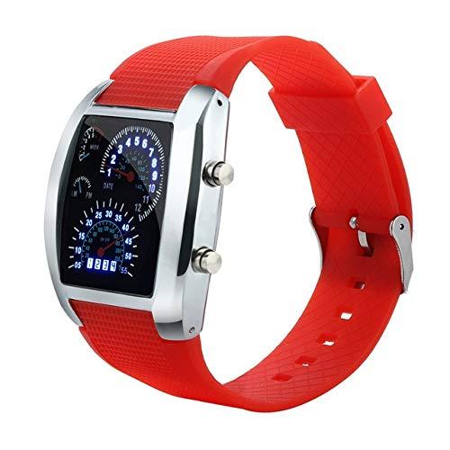 Reloj Digital MJIE para Hombre con luz LED, Flash, velocímetro Turbo, Reloj Deportivo, medidor de Coche, Reloj Ms, Rojo