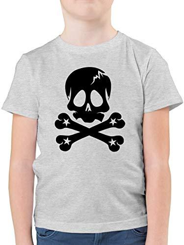 Bunt gemischt Kinder - Totenkopf Sterne - 116 (5/6 Jahre) - Grau meliert - F130K - Kinder Tshirts und T-Shirt für Jungen -