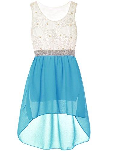 BEZLIT Mädchen Kinder Sommer-Kleid Spitze Glitzer Kurzarm Kunst-Perlen 22286 Hellblau Größe 164