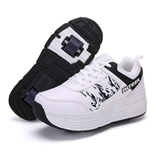 FZ FUTURE Kinder Schuhe mit Rollen, Skateboardschuhe mit Rollen, Light Rollschuhe Wheels, für Kinder Mädchen Junge Erwachsene,A,36