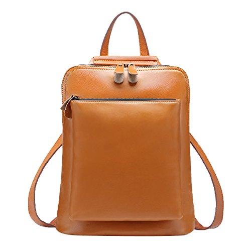 Schultertasche Rucksack PU Leder Damen Mädchen Damen Rucksack Reisetasche,Brown-L