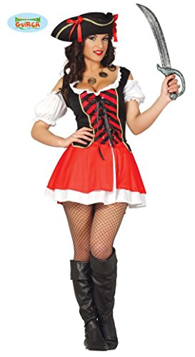 Sexy Piratin Karneval Fasching Motto Party Kostüm Damen Rot Schwarz Gr. S - L, Größe:S