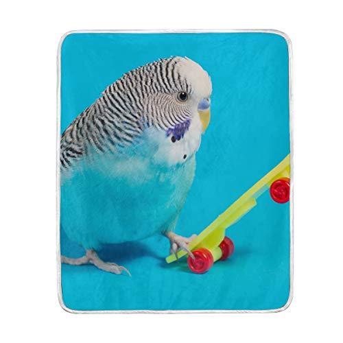 Blue Wellensittich Papageien-/Roller-Decke, weich, warm, leicht, Samt, kurz, Plüsch, Mikrofaser-Decke für Bett, Couch Stuhl, Sofa, Reisen, Camping, 127 x 152 cm