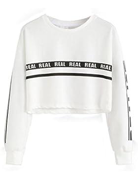 zolimx Mujeres carta blanca cultivo impresión camiseta Top blusa de la manera
