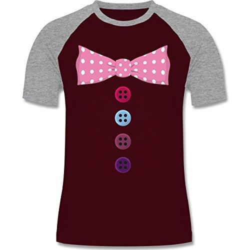Shirtracer Karneval & Fasching - Clown Kostüm Rosa Fliege - Herren Baseball Shirt Burgundrot/Grau meliert