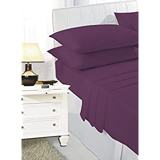 ANSS POLY COTTON FITTED BED COVER SHEET PLUM:SUPER KING