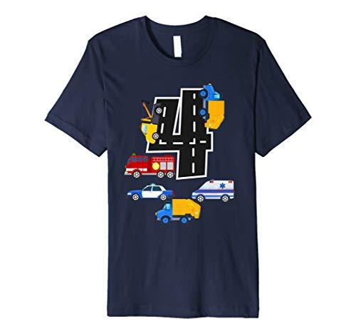 (4. Geburtstag Jungen Fire Truck Polizei Auto T-Shirt 4Jahre Old)