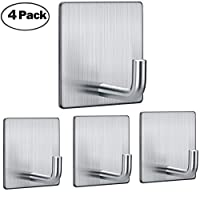 FOTYRIG Self Adhesive Hooks Wall Hangers Stainless Steel Adhesive Towel Hook for Hanging Bathroom Kitchen Home Stick on Wall Silver-4 Packs
